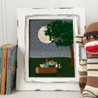 Campfire Woodland Nursery Art