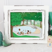 woodland art prints, woodland nursery art, adventures at the pond