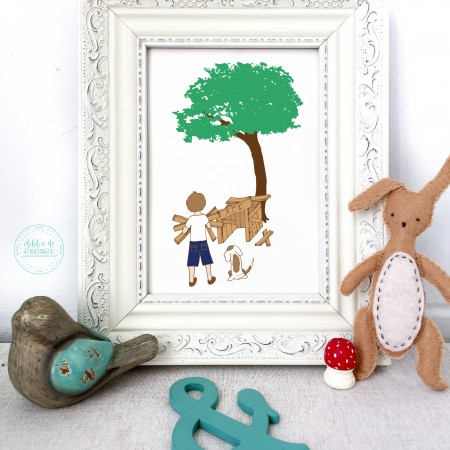 boy and dog nursery wall decor, nursery wall art