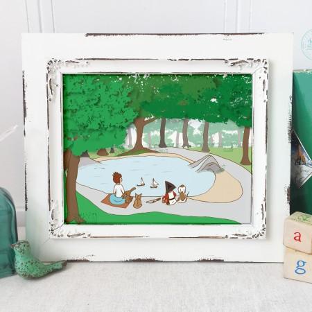 woodland art prints, woodland nursery art, adventures at the pond