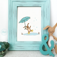 rainy day nursery wall decor, nursery wall art, blustery day wall decor
